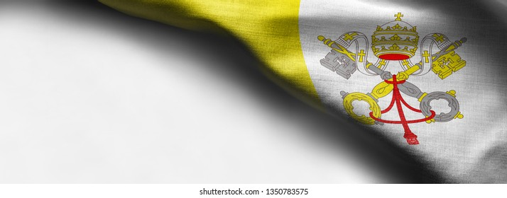 Vatican City flag on white background - right top corner flag