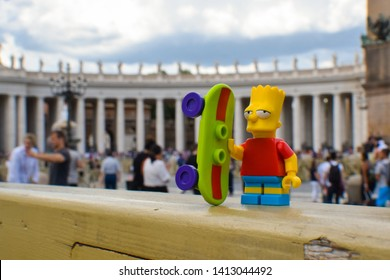 Vatican City, Italy - June 15, 2018: Bart Simpson Lego Minifigure at the Vatican with his Skateboard - Image