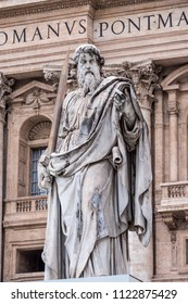 Vatican City, Italy - June 2018 - Statue of St. Paul with sword in front of St. Peter's Basilica in Vatican City, Rome, Italy