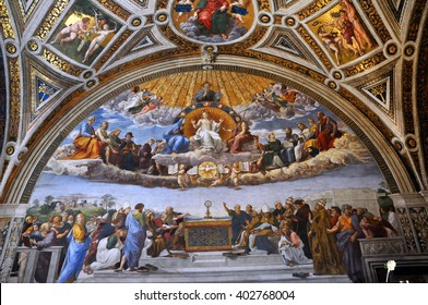 VATICAN CITY, ITALY - MARCH 14, 2016: The paintings on the walls and the ceiling of the Vatican were painted in the Renaissance and are visited in the modern times by crowds of people