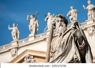 Vatican City, Italy October 03, 2018: Sculpture of Apostle Paul near St Peter Basilica in Vatican city