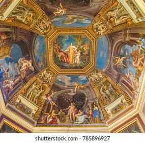 VATICAN CITY, ITALY:  OCTOBER 11, 2017:  Paintings on the ceiling in the Vatican Museum