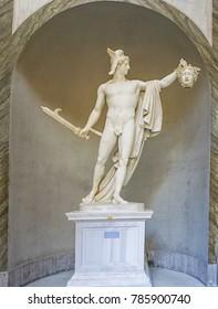 VATICAN CITY, ITALY:  OCTOBER 11, 2017:  Perseo trionfante, Perseus Truimphant statue in the Vatican Museum.