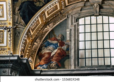 Vatican City Italy October 18, 2019 View of the interior of the St Peter's Basilica in the Vatican City in the afternoon