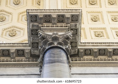 Vatican City, Vatican - January 4, 2017: Corridor at the Vatican Museum decorated with marble columns in the Vatican City