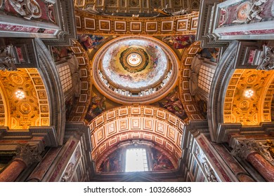 VATICAN CITY, VATICAN â?? JUNE 15, 2015 : interiors and architectural details of Basilica of saint Peter, june 15, 2015, in Vatican city, Vatican