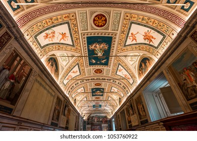 VATICAN CITY, JUNE 15, 2015 : interiors and architectural details of the Vatican museum, june 15, 2015, in Vatican city,