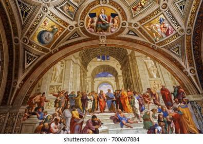 VATICAN CITY, VATICAN, JUNE 15, 2015 : interiors and architectural details of Raphael rooms in Vatican museum, june 15, 2015, in Vatican city