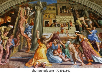 VATICAN CITY, VATICAN, JUNE 15, 2015 : interiors and architectural details of Raphael rooms in Vatican museum, june 15, 2015, in Vatican city