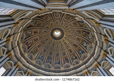 Vatican City - March 23, 2018: Interior of Saint Peter's dome in the Vatican City, Rome, Italy