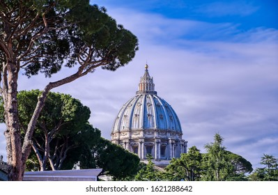 Vatican City - May 31, 2019 - St. Peter's Basilica and St. Peter's Square located in Vatican City near Rome, Italy.