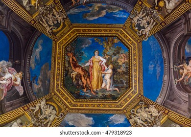 VATICAN, VATICAN CITY - MAY 7, 2016: Frescoes at the ceiling at the Vatican Museum. It was established in 1506