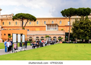 VATICAN, VATICAN CITY - MAY 7, 2016: Courtyard of the Pinecone at Vatican Museums. It was established in 1506