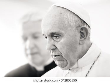 VATICAN CITY, VATICAN - Nov 20, 2015: Pope Francis during a meeting with Ukrainian President Petro Poroshenko
