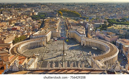 VATICAN CITY, VATICAN - NOVEMBER 1, 2017: The St. Peter's square and Rome are seen at the dome of St. Peter's Basilica on November 1, 2017 in Vatican City, Vatican.
