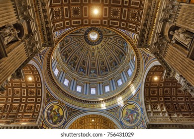 VATICAN CITY, VATICAN - NOVEMBER 1, 2017: The St. Peter's basilica is seen from inside on November 1, 2017 in Vatican City, Vatican. Thousands visit the largest temple of the World every day.