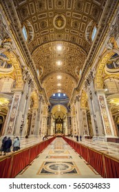 VATICAN CITY, VATICAN - NOVEMBER 14: Interior of Saint Peter's Basilica on Nov 14, 2015 in Vatican City, Vatican.
