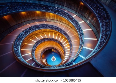 Vatican City, Vatican - Oct 5, 2017:  Bramante Staircase in Vatican Museums in the Vatican City , Rome , Italy . The double helix staircase is is the famous travel destination.