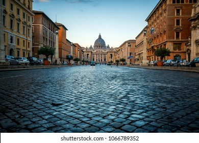 Vatican City, Vatican, Oct 6, 2017: Street in front of St Peter 's Basilica in Vatican, Rome, Italy. Saint Peter's is a church built in Renaissance style located in Vatican City, Rome, Italy.