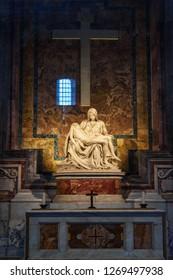 Vatican city, Vatican - October 05, 2018: Pieta by Michelangelo is in the north aisle. Interior of Saint Peter's Basilica
