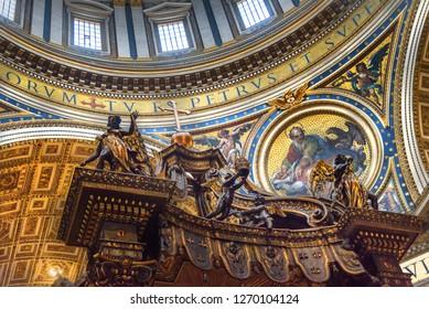 Vatican city, Vatican - October 05, 2018: Altar with Bernini's baldacchino. Interior of Saint Peter's Basilica