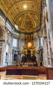 Vatican city, Vatican - October 05, 2018: Cathedra Petri, Altar of the Chair of St. Peter. Interior of Saint Peter's Basilica