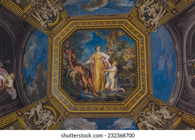 VATICAN CITY, VATICAN - OCTOBER 18: Detail of ceiling in one of galleries of the Vatican Museums. The Vatican Museums are the museums of the Vatican City and are located within the city's boundaries.