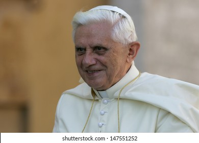 VATICAN CITY, VATICAN - OCTOBER 26 :  Pope Benedict XVI greets the pilgrims during his weekly general audience in St Peter's square at the Vatican on October 26, 2005.