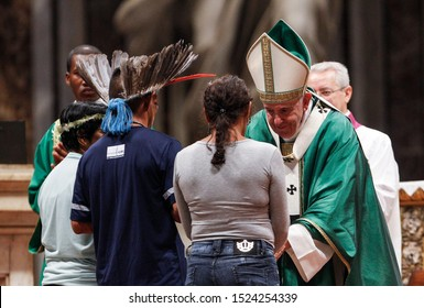 Vatican City, October 6, 2019. Pope Francis celebrates a Mass for the opening of the Synod of Bishops for the Amazon region, in St. Peter's Basilica.