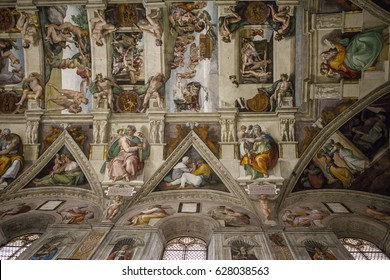 VATICAN CITY, ROME - APRIL 04, 2017: Interior and architectural details of the Sistine chapel, March 02, 2016, Vatican city, Rome, Italy.