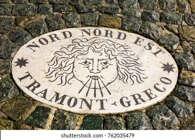 Vatican City, Rome - FEBRUARY 12, 2017:  Italy.  A stone laid in St Peter's Square, Vatican City, by Bernini points in the direction of  north  north east, Tramont Greco.