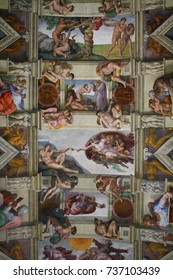 Vatican City, Rome, Italy - 08.01.2017: the interior of the Sistine Chapel, in the center The Creation of Adam fresco by Michelangelo is visible.