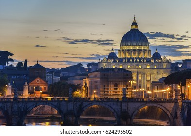 Vatican City, Rome, Italy, Beautiful Vibrant Night image Panorama of St. Peter's Basilica, Ponte St. Angelo and Tiber River at Dusk in Summer. Reflection of The Papal Basilica of St. Peter.