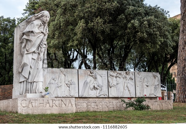 Vatican City, Rome, Italy - June 2018 - Statue of Saint Catherine of Siena near Sant Angelo Castle in Rome, Italy