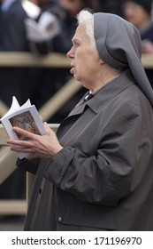Vatican City, Rome, Italy - March 19, 2013:Sister listen and pray at the hearing of Pope Francesco in St. Peter's Square.