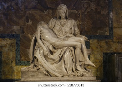 VATICAN CITY, ROME, ITALY - May 10, 2016: Beautiful Pieta is a work of the famous sculptor by Michelangelo Buonarroti , housed in St. Peter's Basilica.Magnificent statue made from Carrara marble.