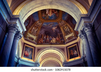 Vatican City, Rome, Italy - September 1, 2015. Frescoes at the ceiling at the Vatican Museums.