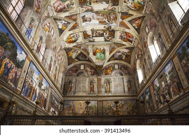 VATICAN CITY, ROME - MARCH 02, 2016: Interior and architectural details of the Sistine chapel, March 02, 2016,  Vatican city, Rome, Italy.