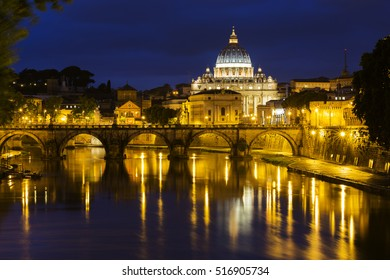 Vatican City with Saint Peter's Basilica at dusk