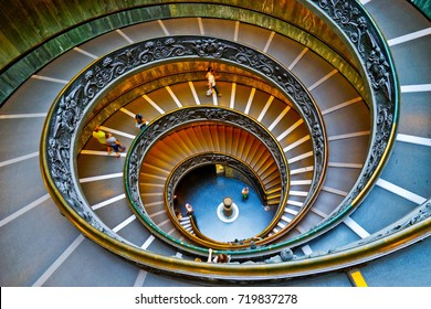 Vatican City, Vatican - September 15, 2016 : View of the spiral stairs of Vatican Museums in Vatican on September 15, 2016. The spiral stairs were designed by Giuseppe Momo in 1932.
