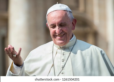 Vatican City, September 28, 2016: Pope Francis at the end of his weekly general Audience.