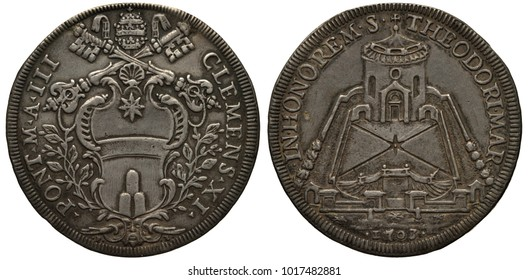Vatican City silver coin 1 one piastra 1703, ruler Pope Clemens XI, tiara and crossed keys above papal shield flanked by sprigs, view on Church of St Theodore Al Palatino,