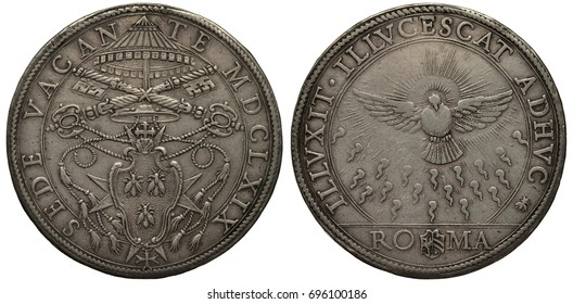 Vatican city silver coin 1 piastre 1669, subject Sede Vacante, arms, shield with bees flanked by ropes, crossed keys above, Holy Spirit as dove with rays,