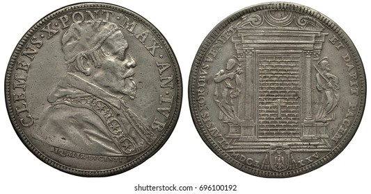 Vatican city silver coin 1 piastre 1675, ruler Pope Clemens X, bust in rich clothes right, saint with key and saint with sword guarding saint door with brickwork, date below,
