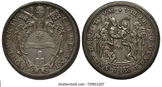 Vatican City silver coin 1 one piastre 1704, arms of Pope Clemens XI, tiara and crossed keys above oval shield with star, bringing baby Christ to temple, priest holding child surrounded by crowd,
