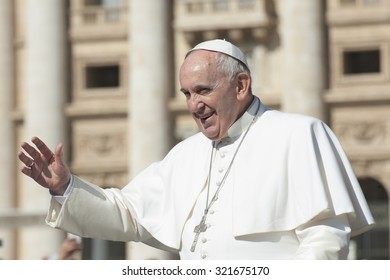 Vatican City, Vatican city State - April 22, 2015: Pope francis greets faithful in St. Peter's square