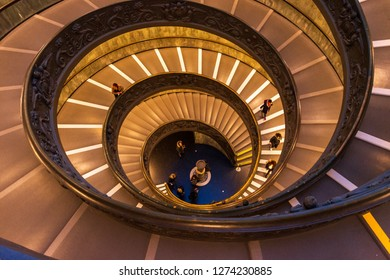 Vatican City State- DEC 11 2018: The Modern Bramante Staircase in Vatican Museum is located in the end of the museum as visitors leave the museum through this route.