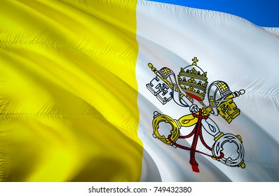 Vatican City State flag. Papal Flag of Vatican City State. 3D Waving flag design. Yellow and white flag 3D rendering. flags of vatican city images.Papal flags buy background wallpaper pictures