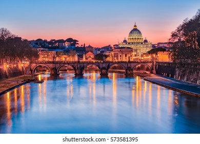 The Vatican city state at night in Rome, Italy.