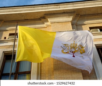 Vatican City, VA, Vatican - March 4, 2019: flag of pope with symbol of keys of Saint Peter